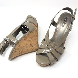 Seychelles Taupe Patent Leather Cork Wedge Sandal